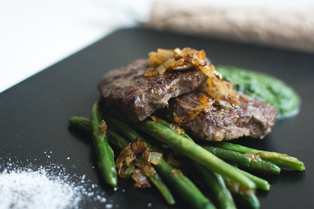 Grilled sirloin steak with bean