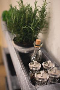 Kitchen shelf with spice jars
