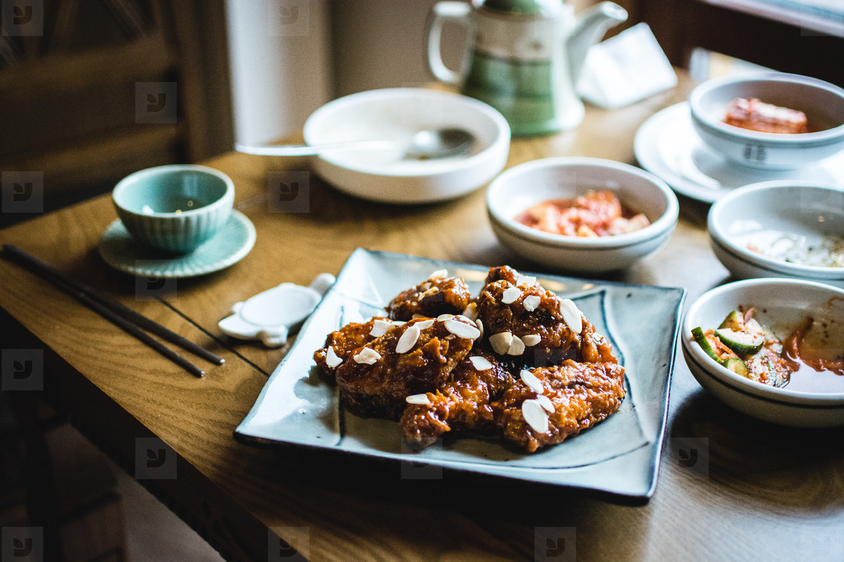 Korean chicken wings in barbecue