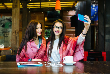 two close friends make selfie in the cafe
