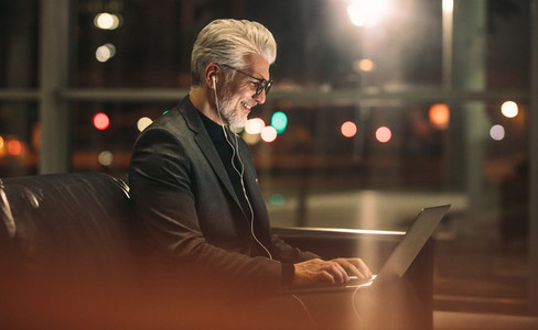 Businessman working overtime in office
