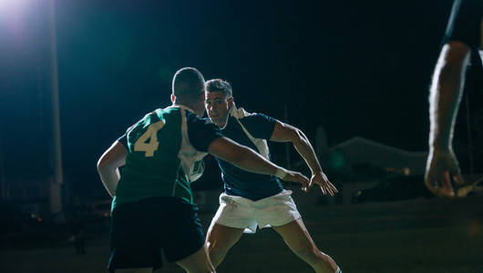 Rugby players in action during game