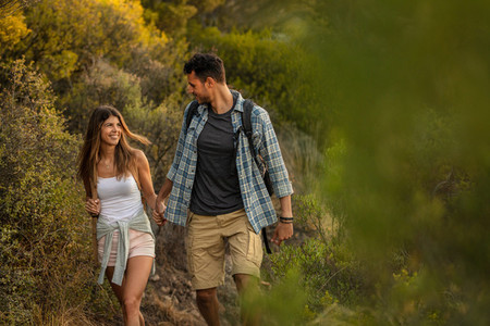 Couple in love on a mountain hike