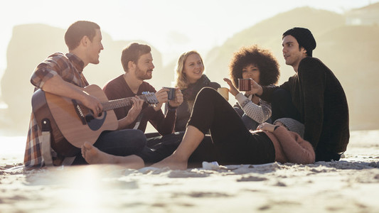Group of friends having party at the beach