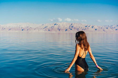 Young woman going to Dead Sea Israel