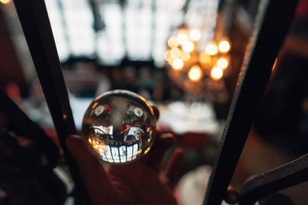 luxurious interior through a glass ball