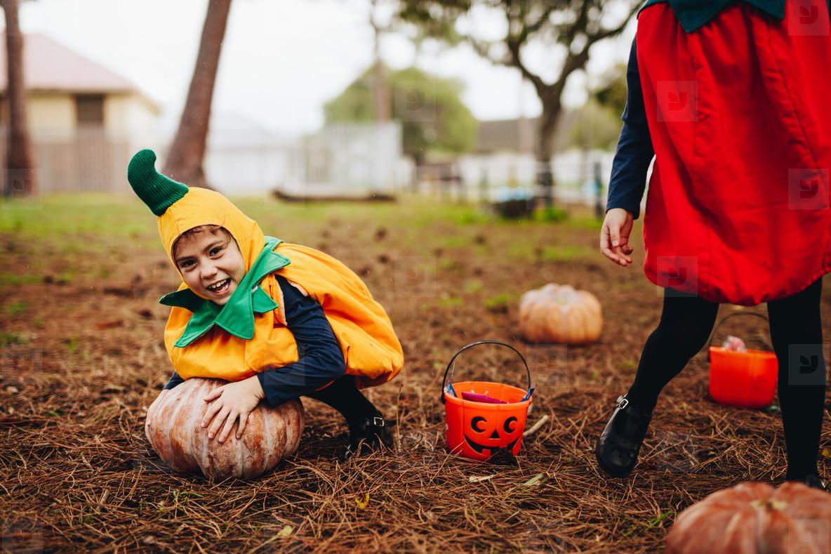 Little children having fun on halloween