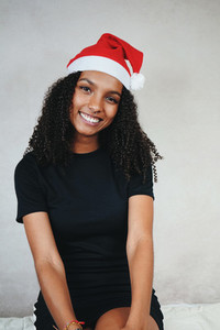 Funny young woman at christmas
