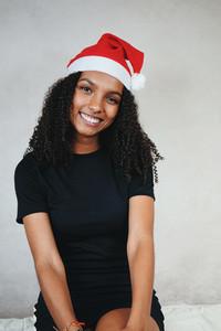 Funny young woman at christmas