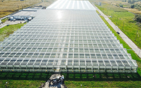 Greenhouses field Flying over the greenhouses