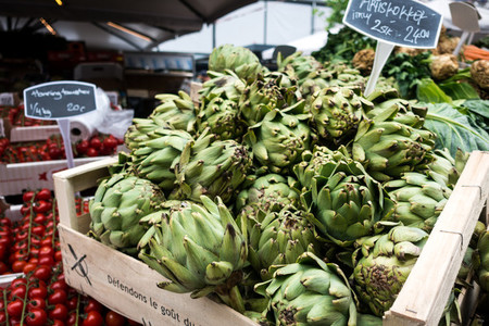 Fresh artichokes on market