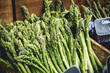 Fresh asparagus on a market
