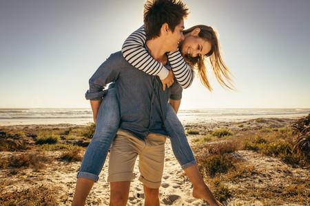 Romantic couple having fun at the beach