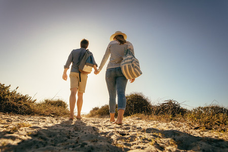 Rear view of a couple walking on beach sand