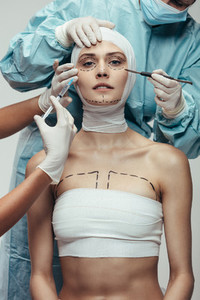 Woman undergoing a cosmetic surgery operation