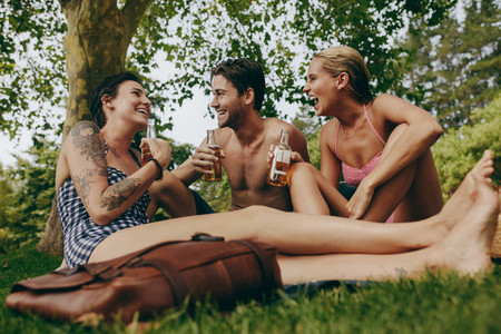 Happy friends on a holiday sitting in park drinking beer