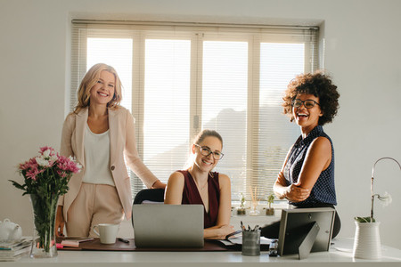 Group of successful businesswomen in office