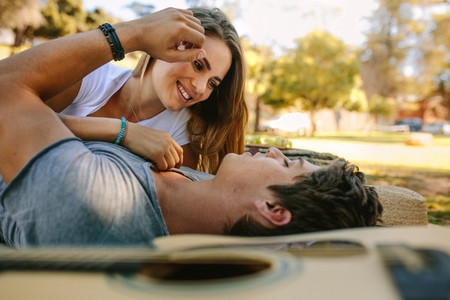 Couple in love relaxing in a park