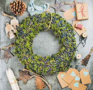 Christmas wreath  wooden toys and materials for making decoration