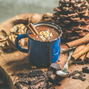 Rich winter hot chocolate with cinnamon and walnuts  square crop