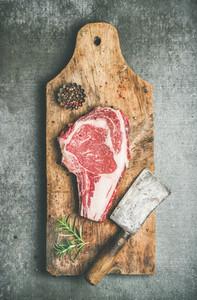 Raw prime beef meat steak rib eye and chopper  top view
