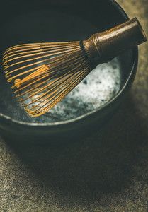 Close up of traditional Japanese Chasen whisk  copy space