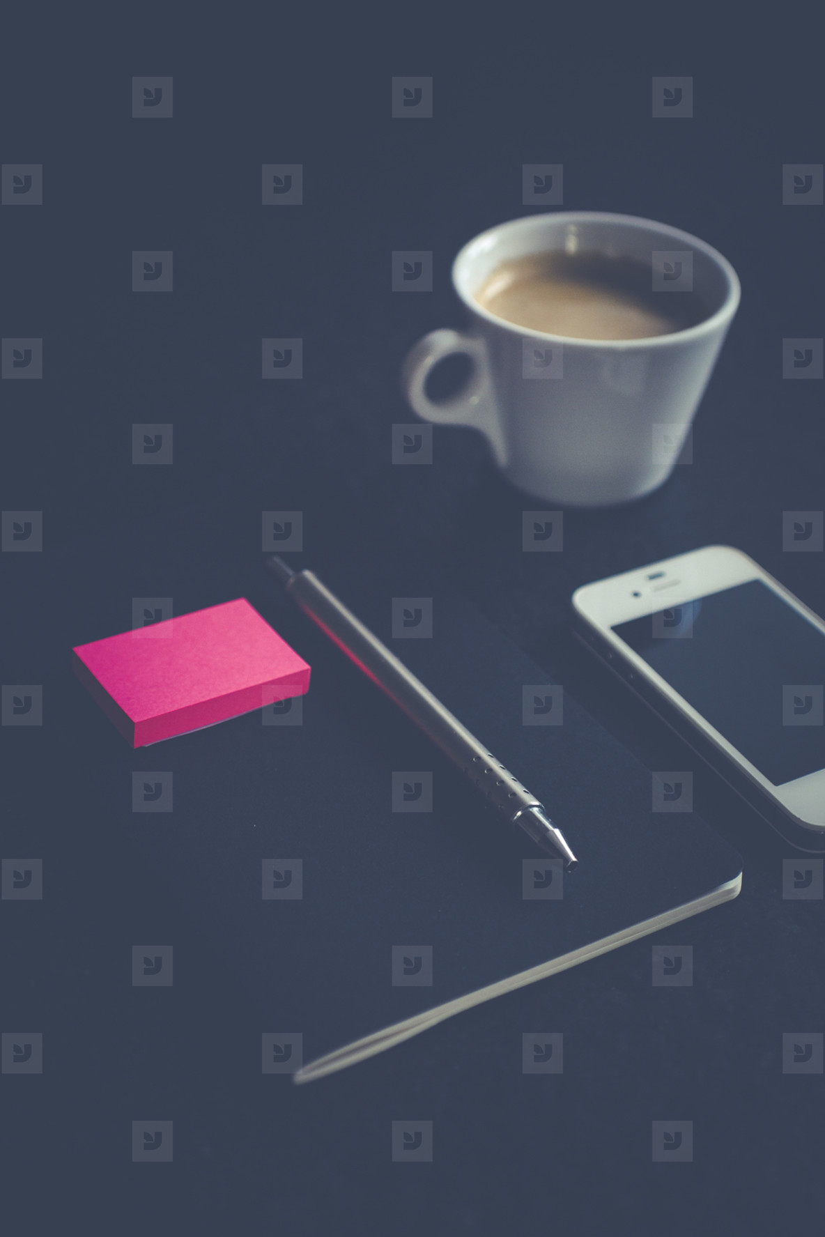 notebook  pen with post it and coffee