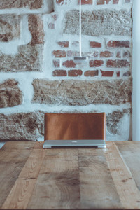 wooden vintage table co working space