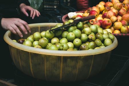 Fresh small apples at market