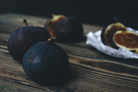 Fresh ripe figs on a wooden