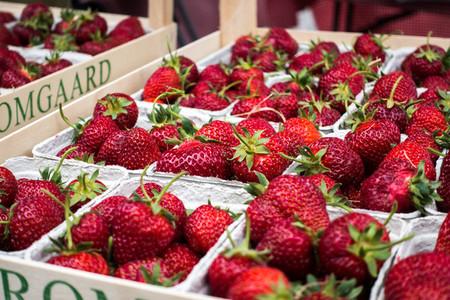 Fresh strawberries in paper box