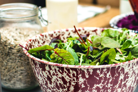 Fresh Swiss chard leaves in bowl