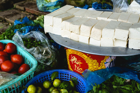 Fresh tofu for sale at market