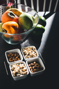 Fruits and nuts on kitchen table