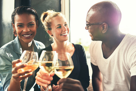 Ethnic friends drinking wine at a bar