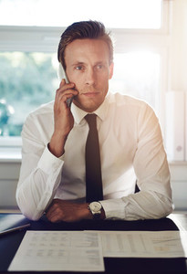 Portrait of business man talking on the phone