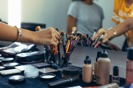 Close up of the makeup items on a table