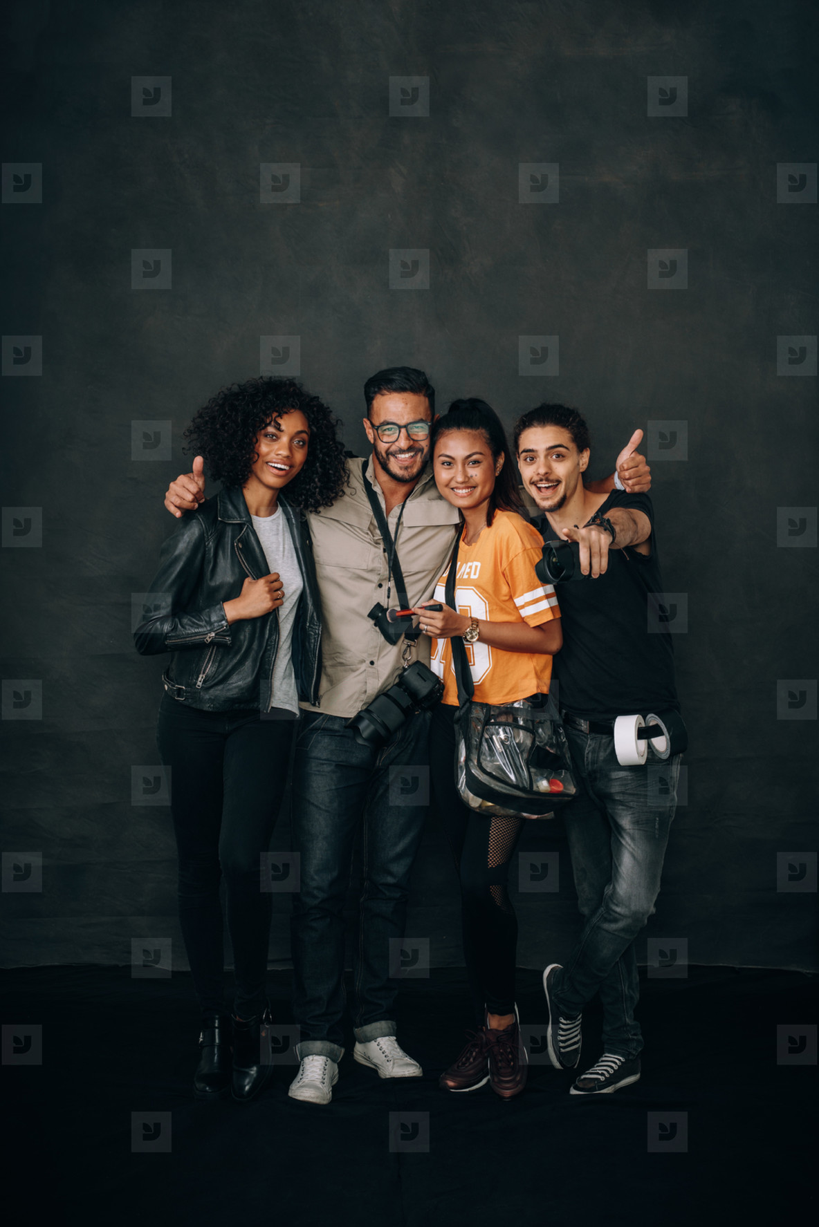 Photography team during a photo shoot in a studio