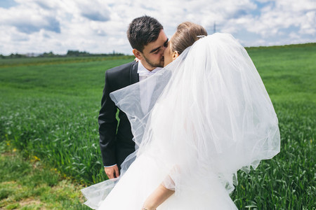Beautiful wedding couple on nature