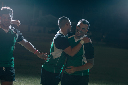 Hugs and smile after winning rugby game
