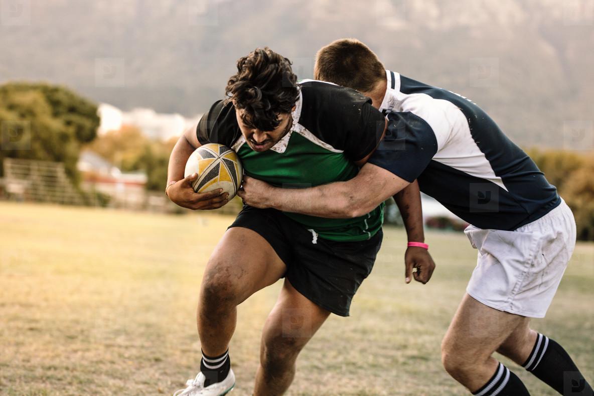 Blocking during rugby game