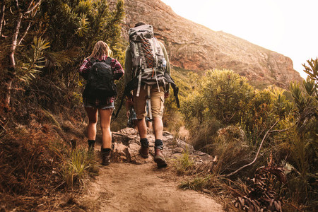 Friends with backpacks hiking in mountain