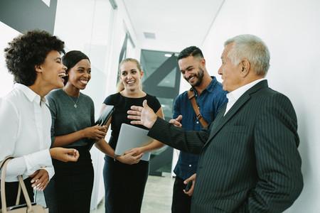 Corporate professional having informal meeting