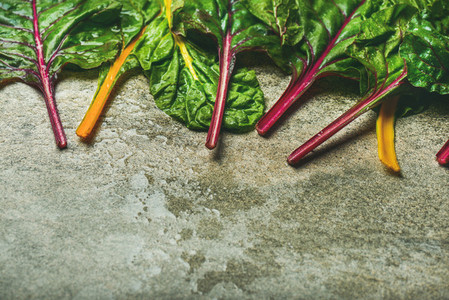 Flat lay of fresh green leaves of swiss chard  horizontal composition