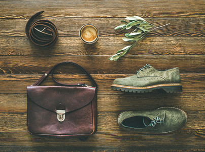 Flat lay of womans fall accessories and coffee top view