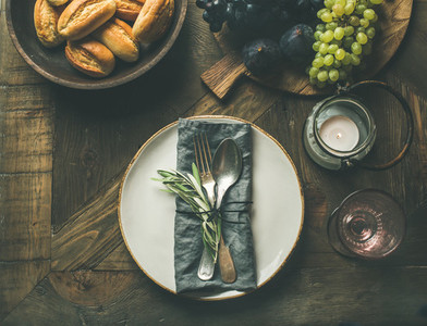 Fall table setting with cutlery and decoration copy space