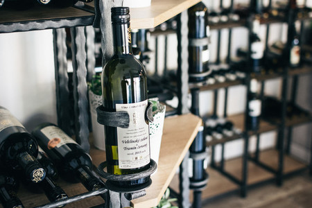 Bottles of wine in wineshop