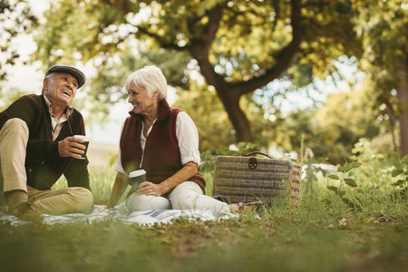 Senior couple on picnic enjoying time together