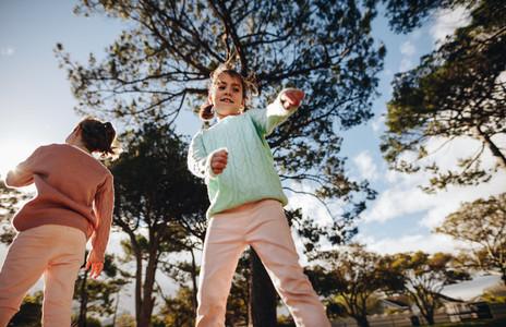 Small girls having fun at the playground