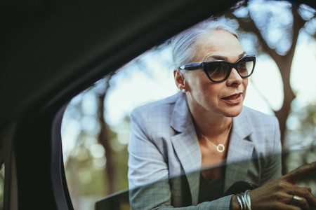 Businesswoman in sunglasses talking with taxi driver
